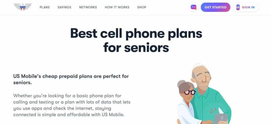 US Mobile senior page.