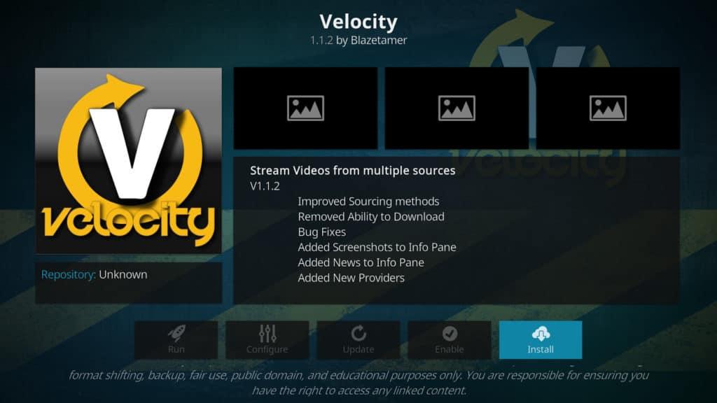 Velocity Kodi addon
