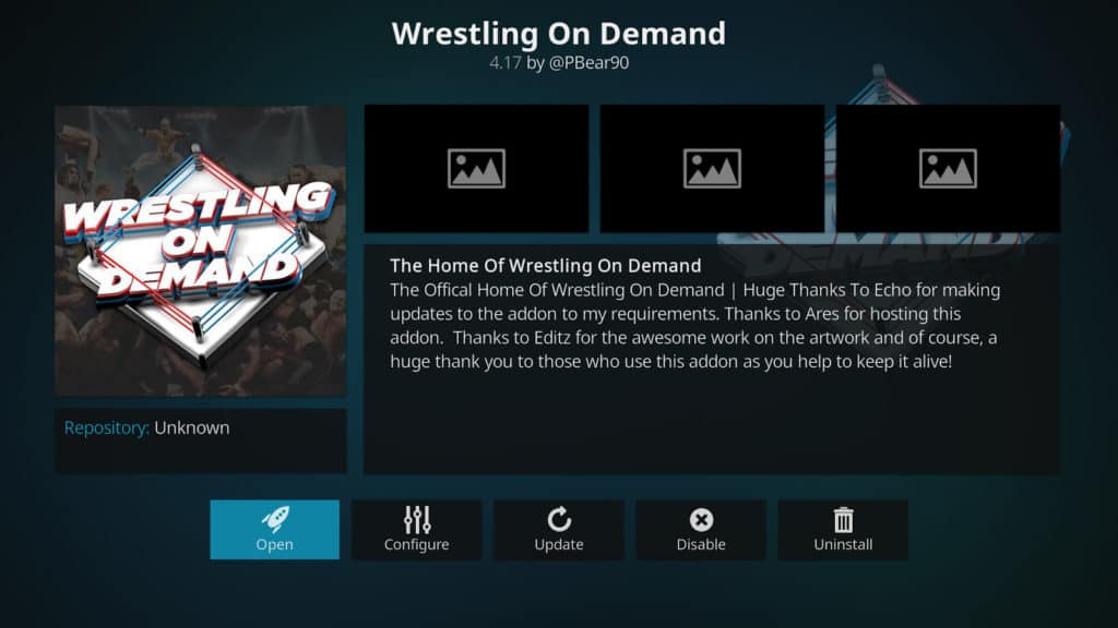 Wrestling On Demand Kodi Addon