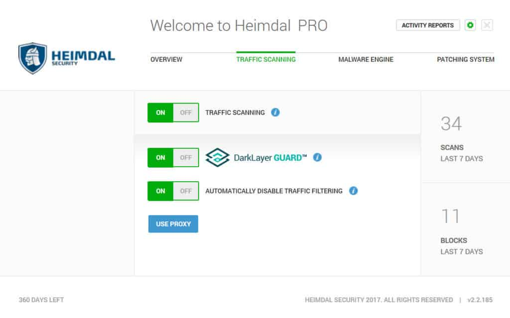Traffic scanning Heimdal PRO