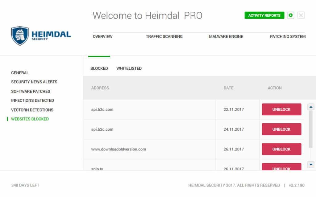 Heimdal Pro whitelisting