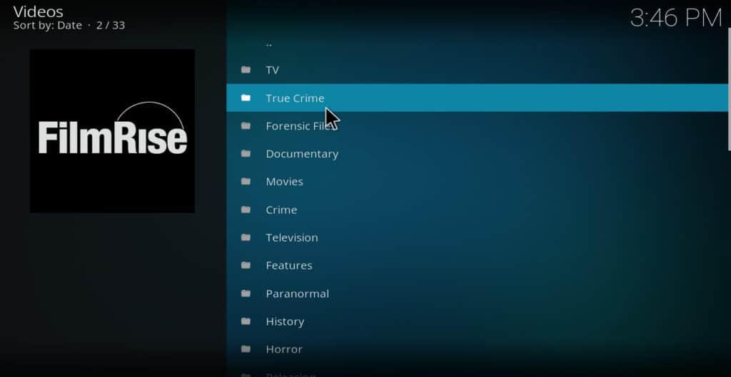 FilmRise Kodi addon main menu