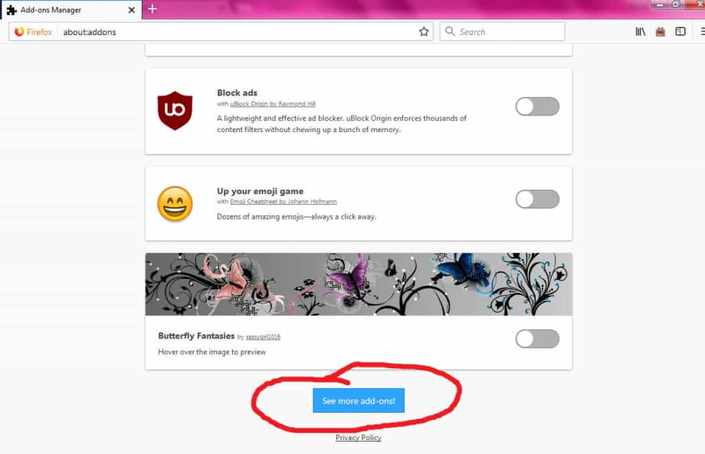 Firefox see more addons