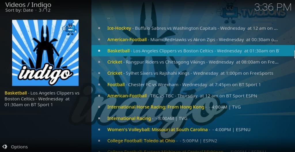 Indigo Sports Listings