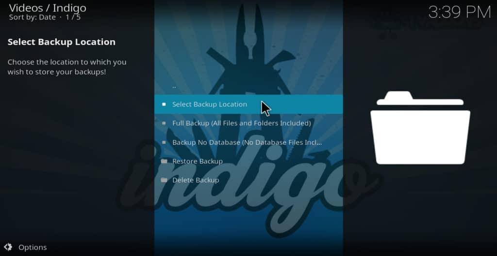 Indigo backup restore indigo kodi addon