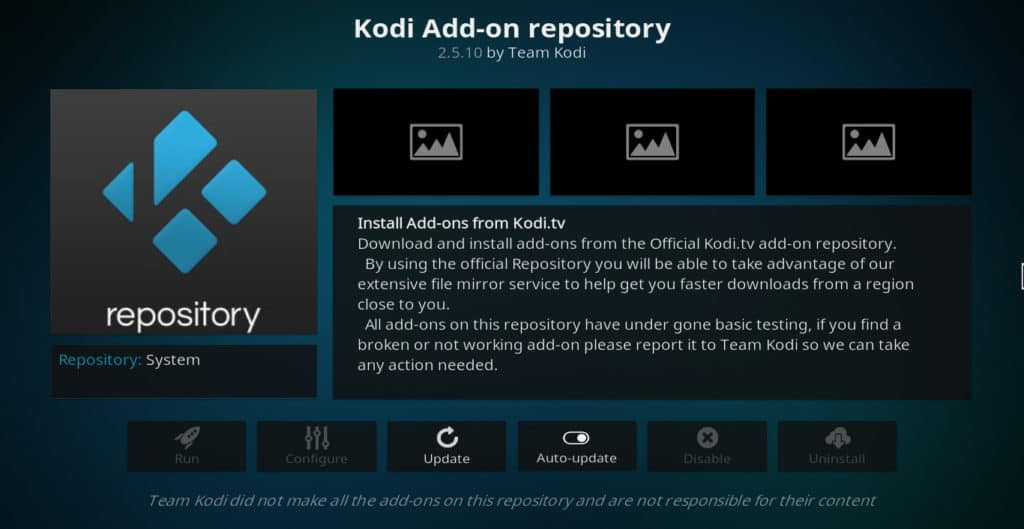 Kodi official repo