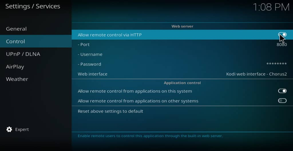 Kodi service setting allow remote control