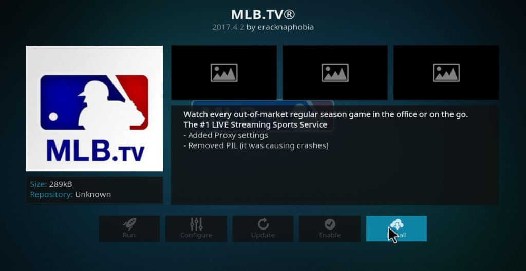 MLB.tv Kodi install