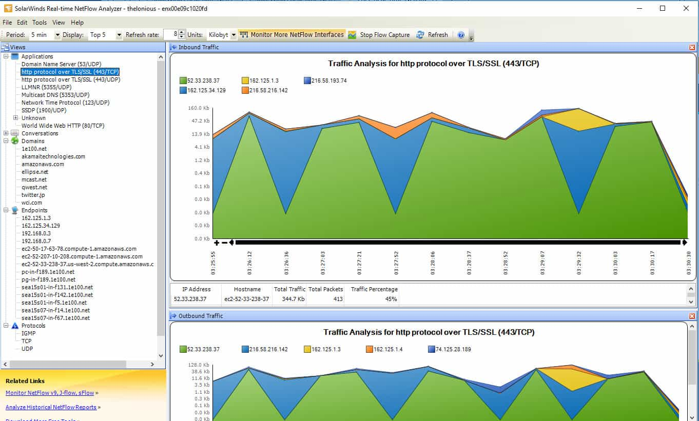 Use the tree explorer of SolarWinds NetFlow Analyzer to select an item to display.