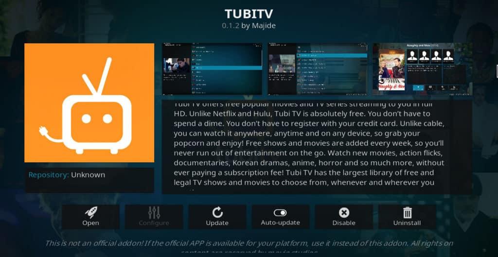 Tubi TV Kodi addon