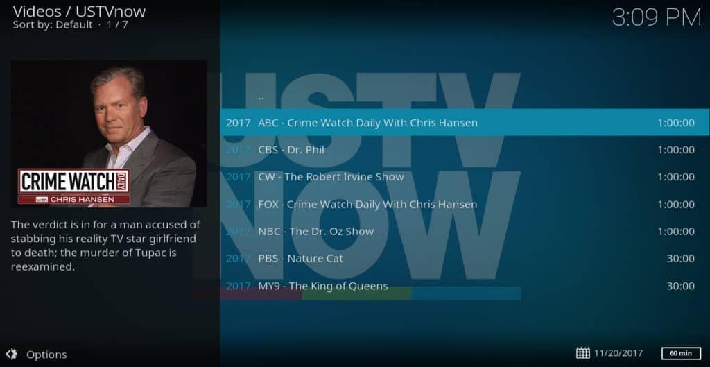 USTVNow Kodi addon menu