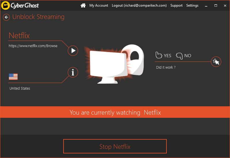 Cyberghost Netflix streaming