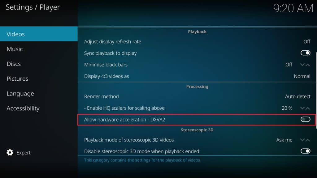 Disable Kodi hardware acceleration