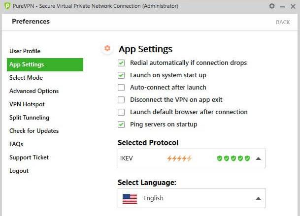 PureVPN App Settings tab.