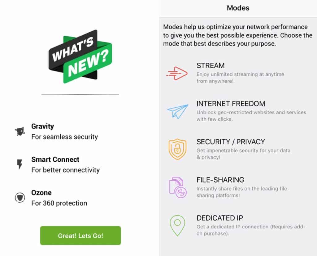 PureVPN mobile app setups screens.