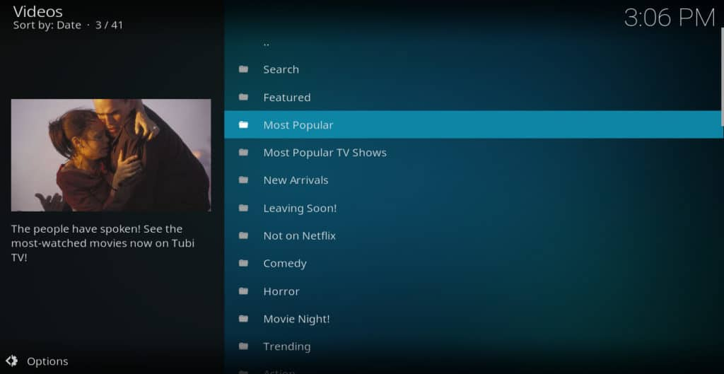 Tubi TV kodi addon menu