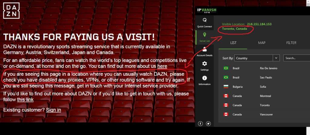 DAZN Canada with VPN