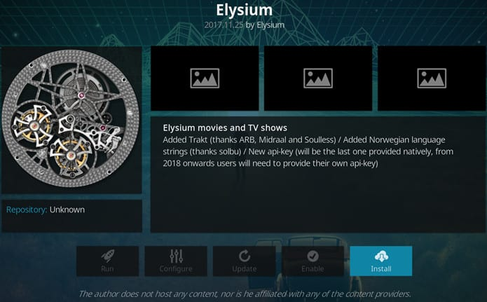 Elysium Kodi addon