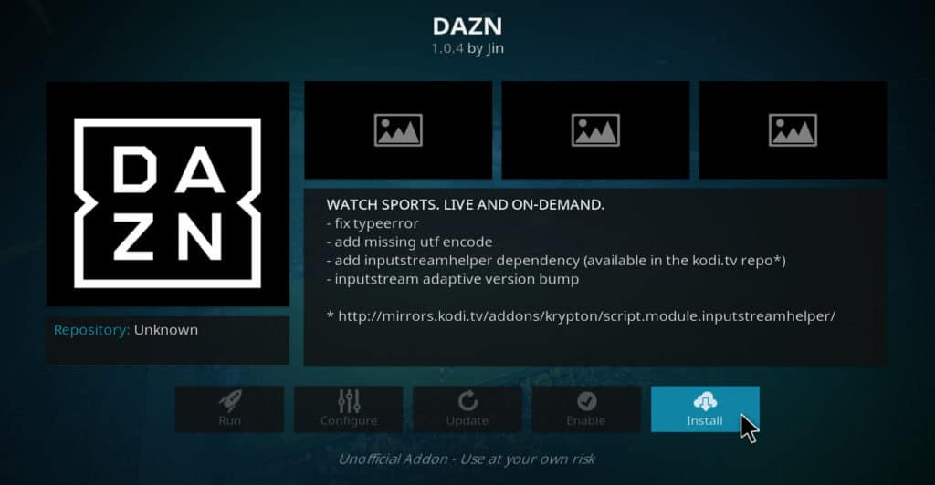 Install DAZN Kodi addon six nations on kodi