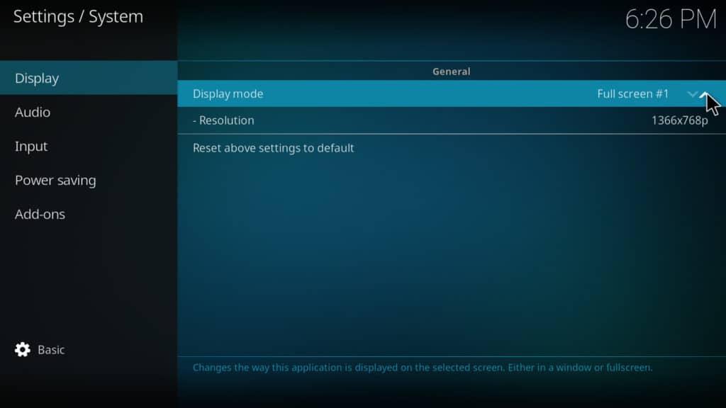 Kodi system settings display mode