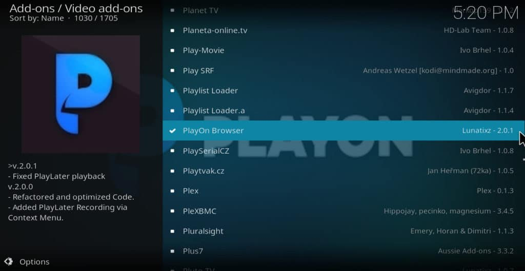 Kodi select playon browser