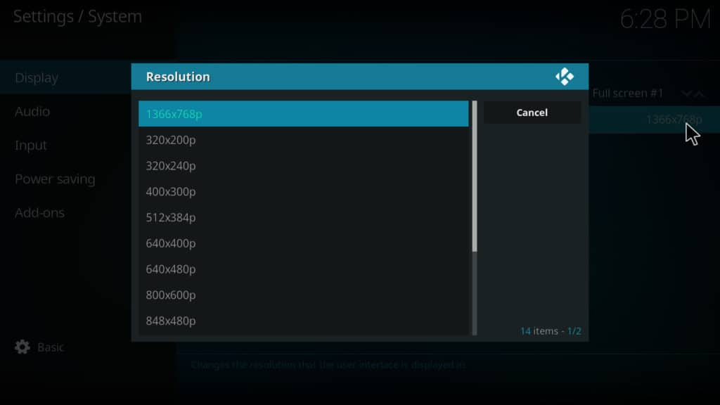 Kodi system settings resolution