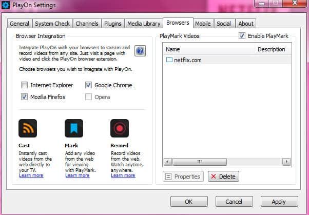 Playon browser settings