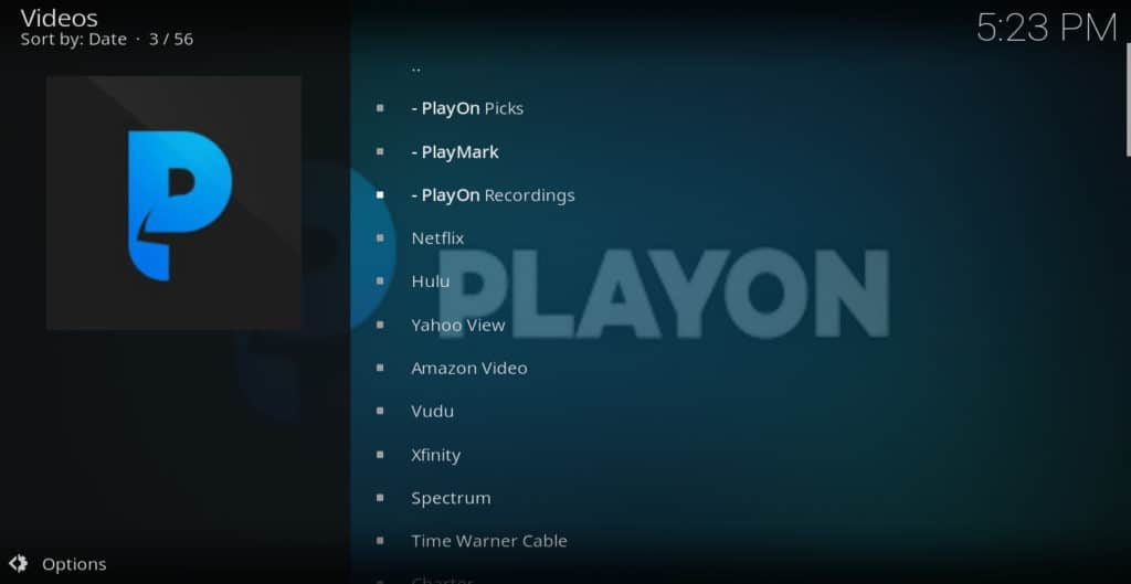 Playon Kodi addon channels