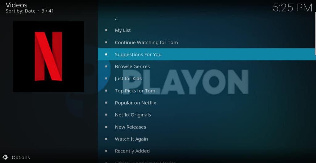 Playon netflix menu