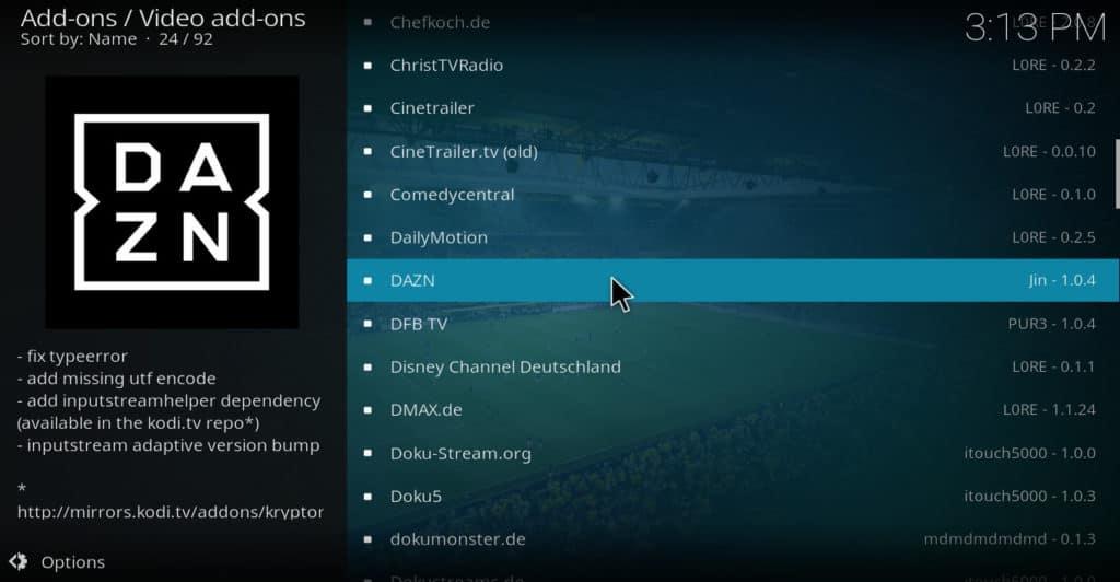 Select DAZN Kodi addon