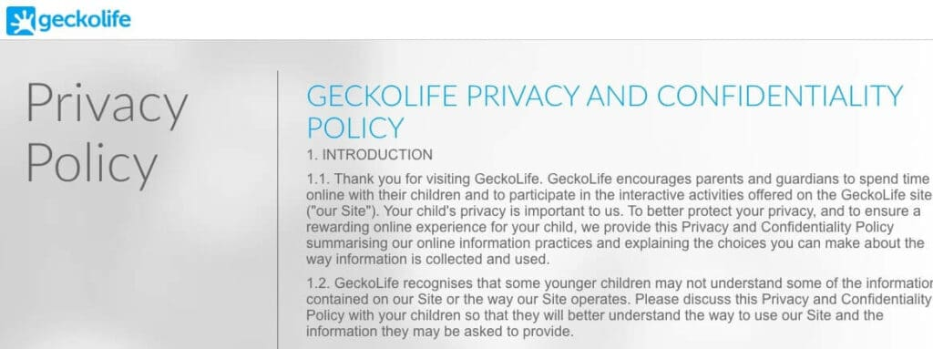 GeckoLife Privacy Policy.