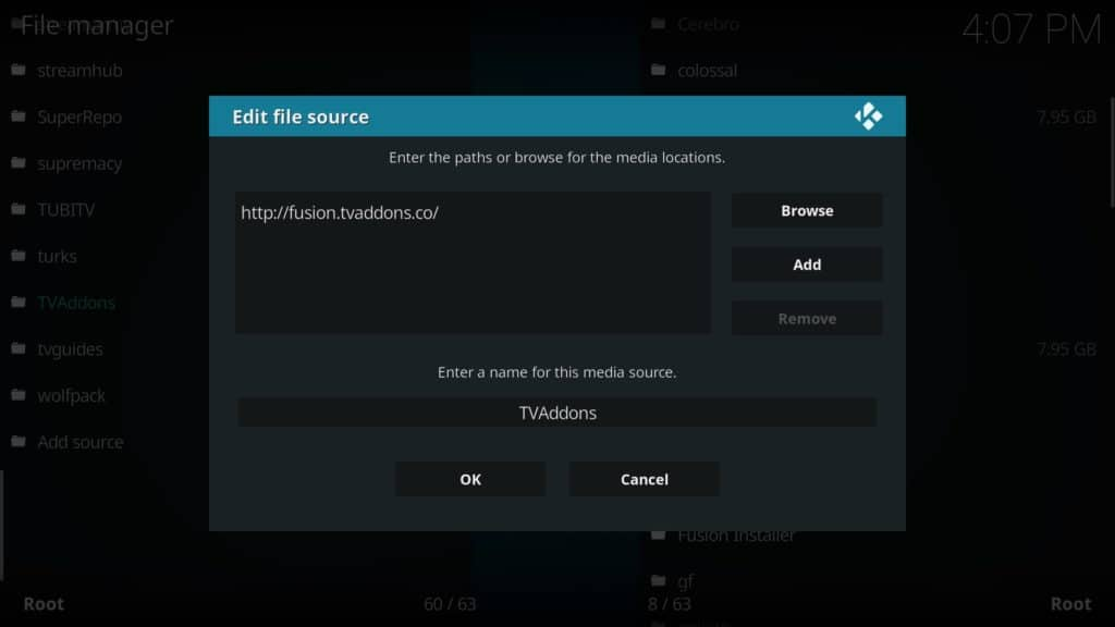 Adding TVAddons as a source