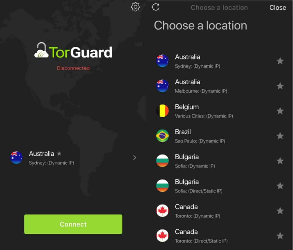 Torguard mobile client.