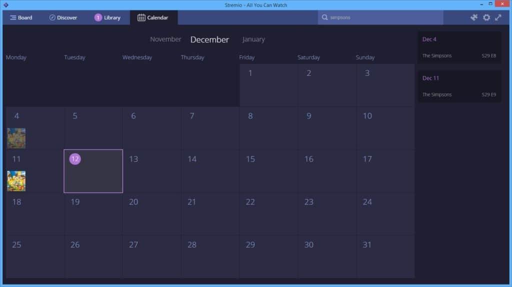 Using the Stremio calendar