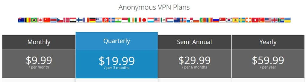 Torguard VPN plans.