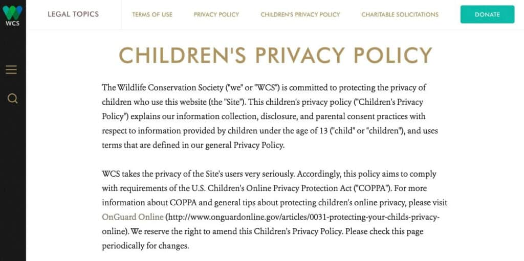 WCS Children's Privacy Policy.