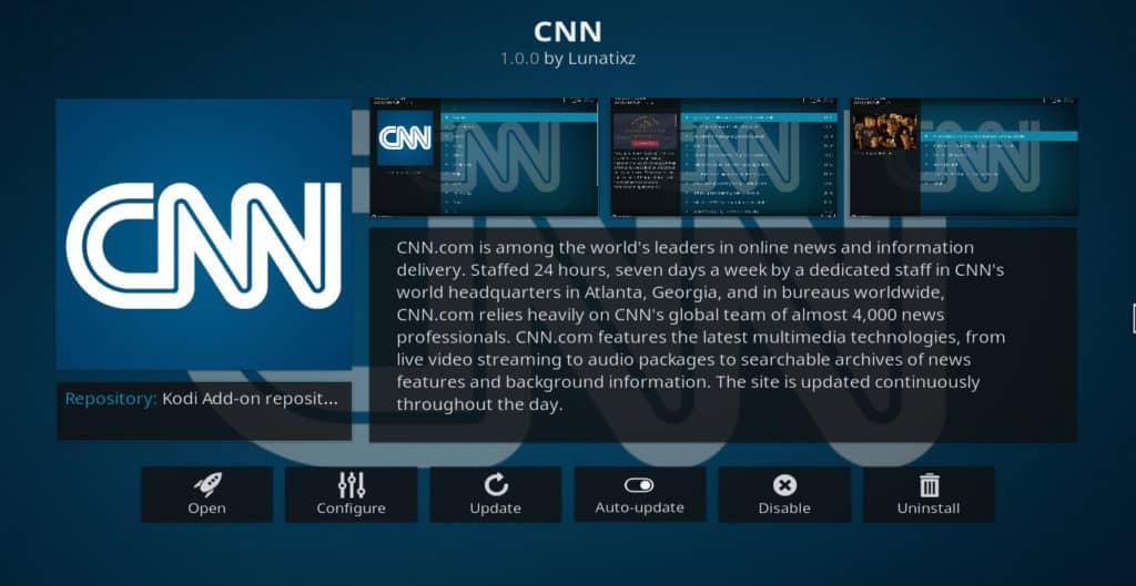 CNN Kodi addon