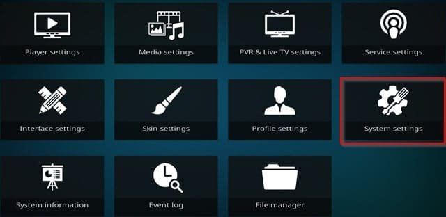 Kodi 17 System Settings