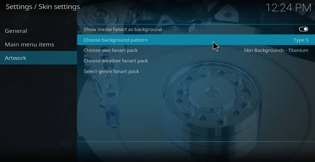 Kodi background installed