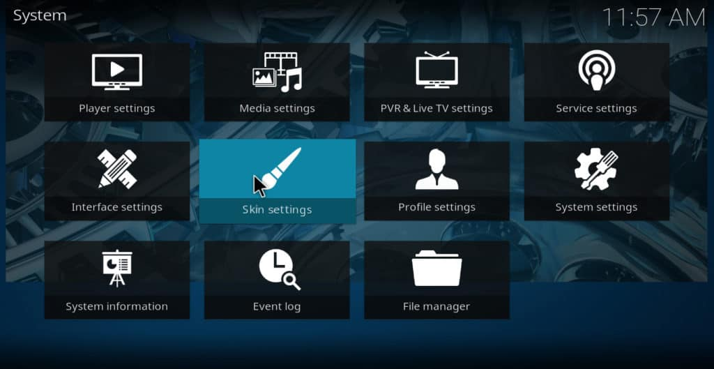 Kodi skin settings