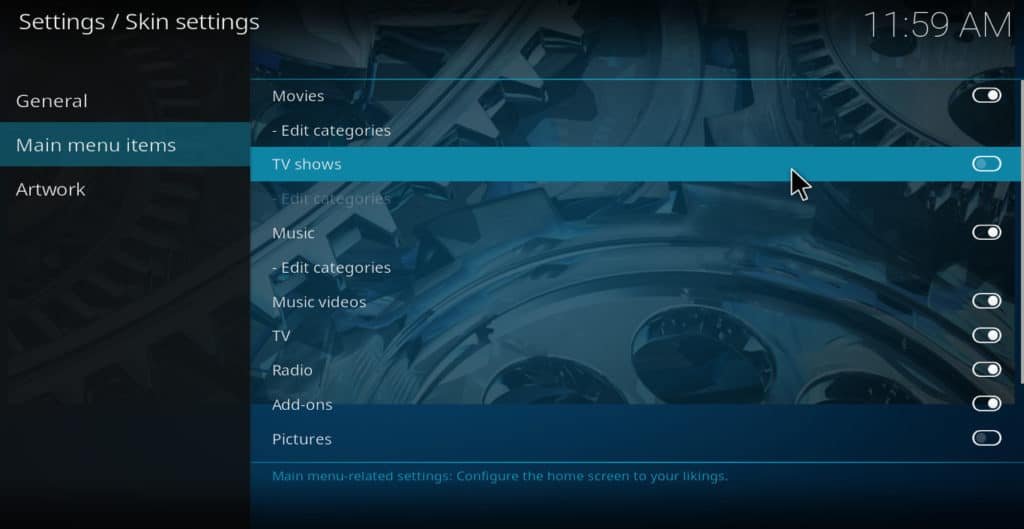 Kodi skin settings main menu items