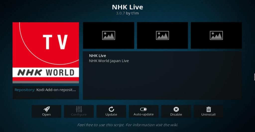 NHK Live Kodi addon