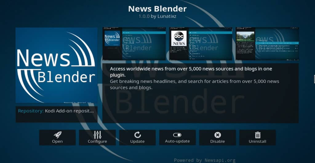 News Blender Kodi addon