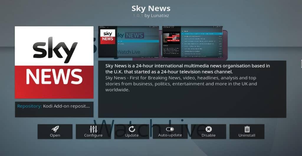 Sky News Kodi addon