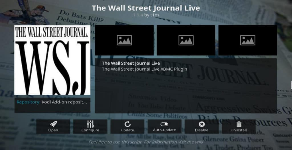 Wall Street Journal Live Kodi addon