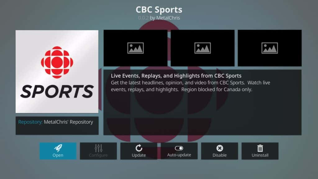 cbc sports Kodi addon