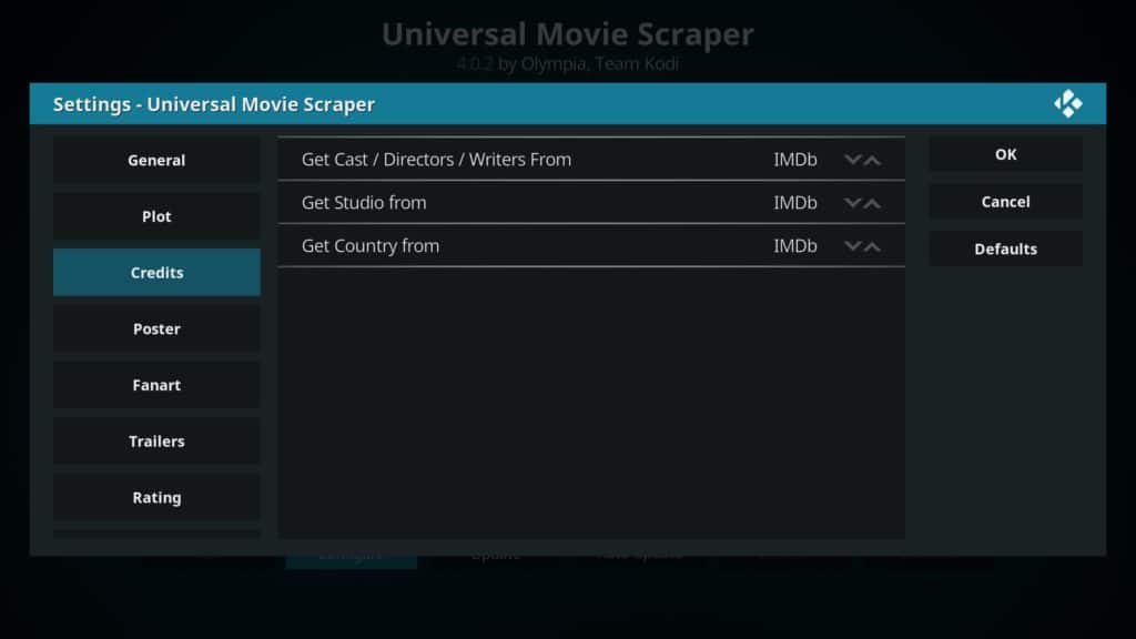 configuring universal movie scraper