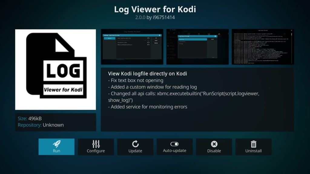 install log viewer for kodi