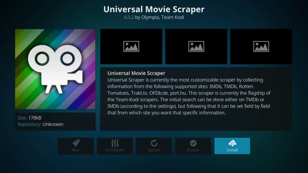 Kodi's universal movie scraper