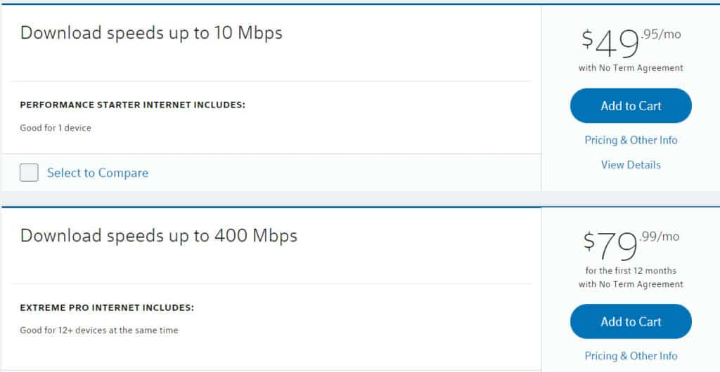 Internet speeds and pricing